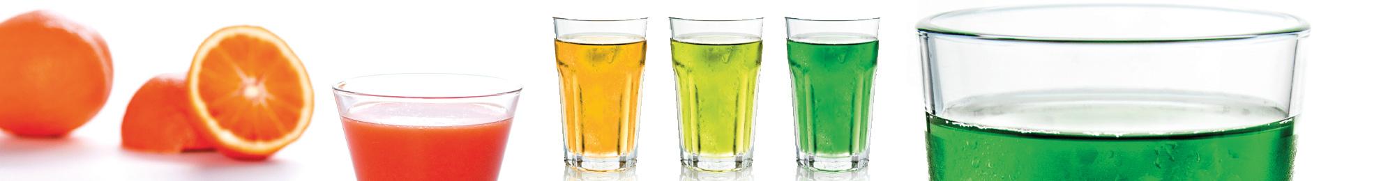 Titelbild mit kühlen Getränken im Glas